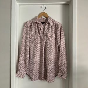 Ann Taylor Geo Camp Shirt Blouse Dusty Pink
